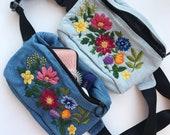 Hip bag, Belt bag, Waist bag, Hip pouch, Belt pouch, Fanny pack, Pocket belt, Crossbody purse, Hand embroidered bag, Hip pack, Gift for her