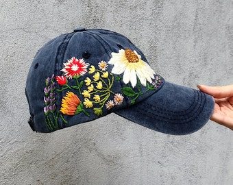fad36a44 Hand embroidered hat, Embroidered flower hat, Embroidery hat, Embroidered  hat, Floral embroidery, Embroidered flower, Custom baseball cap