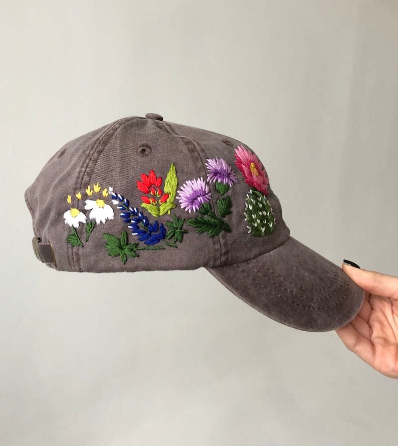 72ace96dd67 Hand embroidered hat Embroidered flower hat Embroidery hat