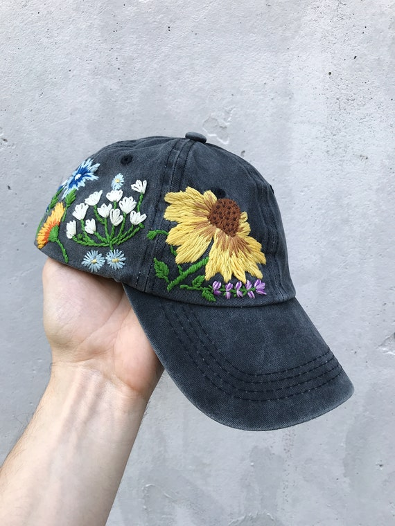 69da87a1c Hand Embroidered Hat, Baseball Cap, Ball Cap, Dad Hat, Custom Embroidery  Hat, Floral Embroidery Hat, Flower Dad Hat, Embroider Woman Cap
