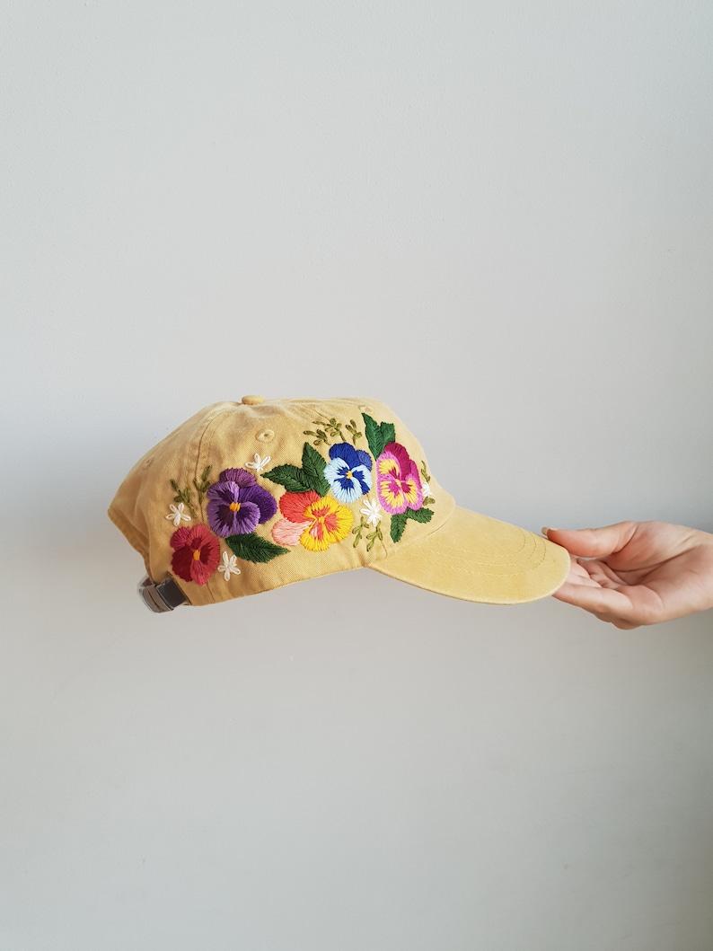 a2b51be3860437 Custom Baseball Cap / Hand Embroidered Hat / Flower Baseball | Etsy