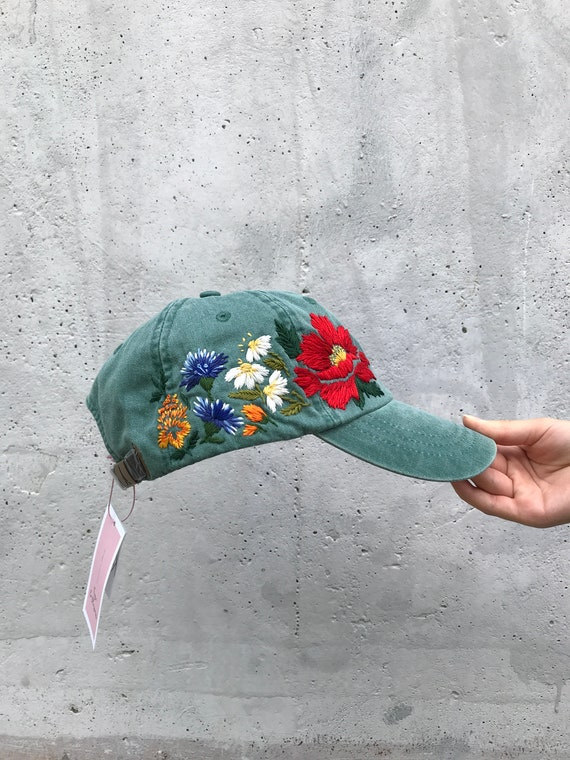 6075173a3a9045 Custom Hand Stitched Hat / Hand Embroidered Hat / Baseball Cap | Etsy