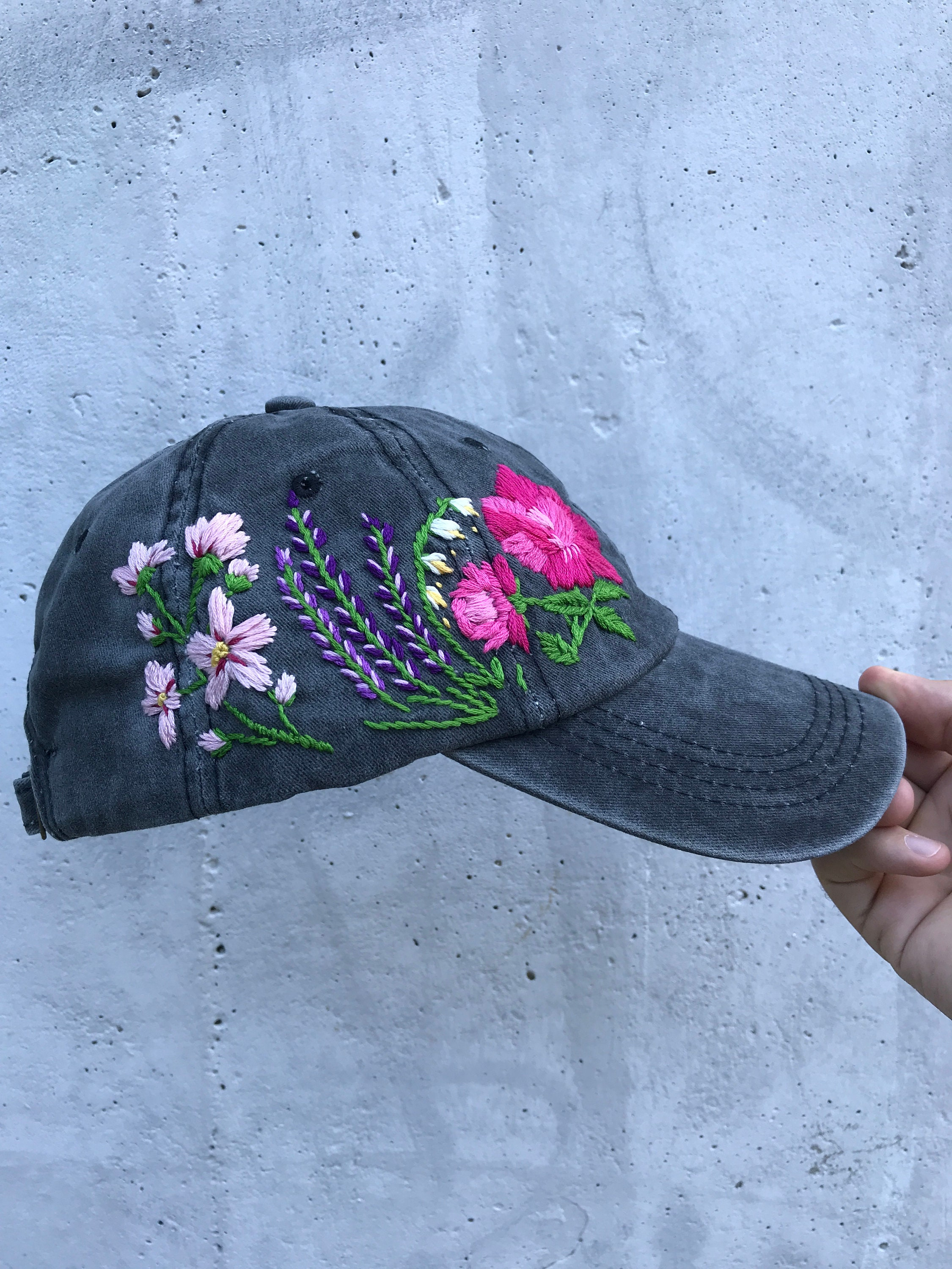 5a7c9fecb17 Hand Embroidered Hat   Custom Embroidered Hat   Floral