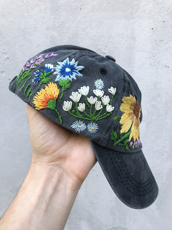 Hand Embroidered Hat, Baseball Cap, Ball Cap, Dad Hat, Custom Embroidery  Hat, Floral Embroidery Hat, Flower Dad Hat, Embroider Woman Cap