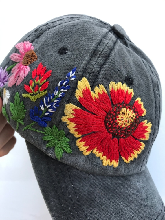 3d303b1ad Hand Embroidered Hat, Embroidered Baseball Caps, Custom Embroidered Hat,  Floral Embroidered Hat, Embroider Flower Hat, Embroider Hat, Women