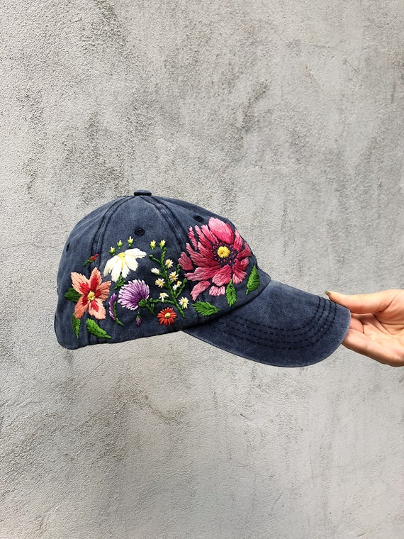Hand Embroidered Hat  Teal Embroidered Hat   Floral Border Hat  8df5258a00e