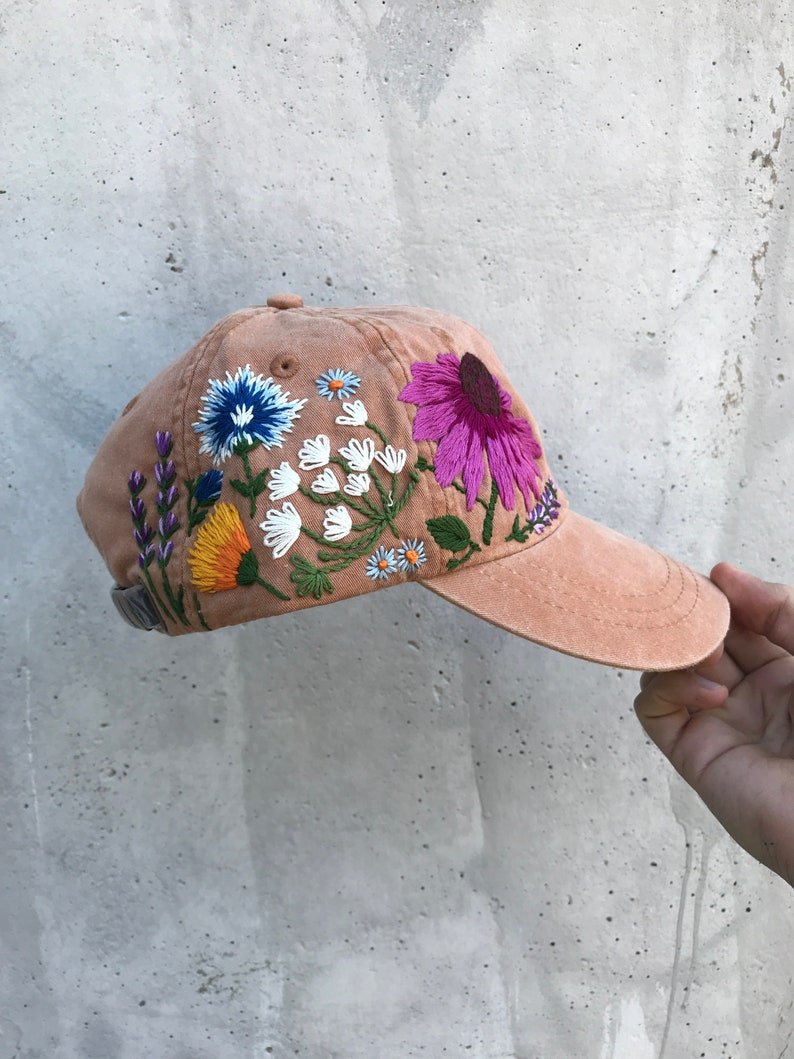 Hand embroidered hiking hat floral design baseball hat for  b26531a95f6