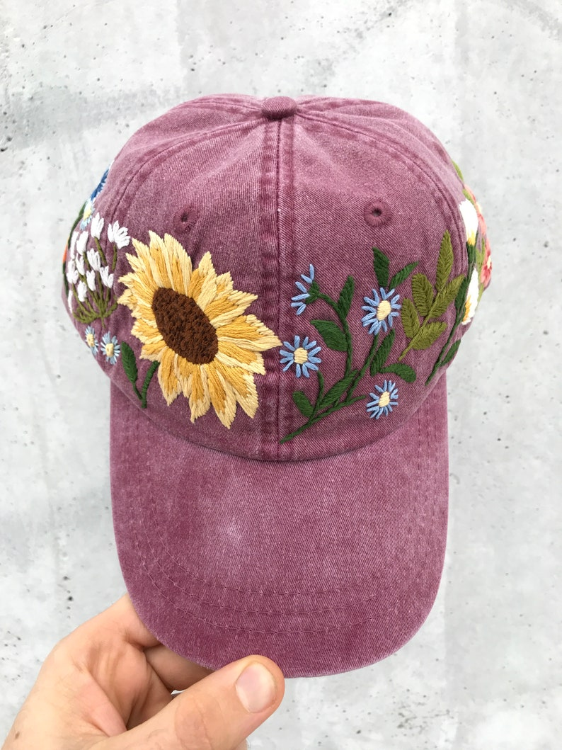 d385fa9effb0c6 Hand Embroidered Hat / Custom Embroidered Hat / Floral | Etsy
