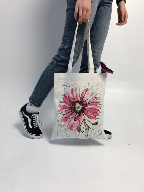 Floral Shopping Bag Gerbera Tote Book Bag With Pocket Eco Tote Bag Grocery Bag Beach Bag Cotton Tote Bag Tote Bag With Zipper
