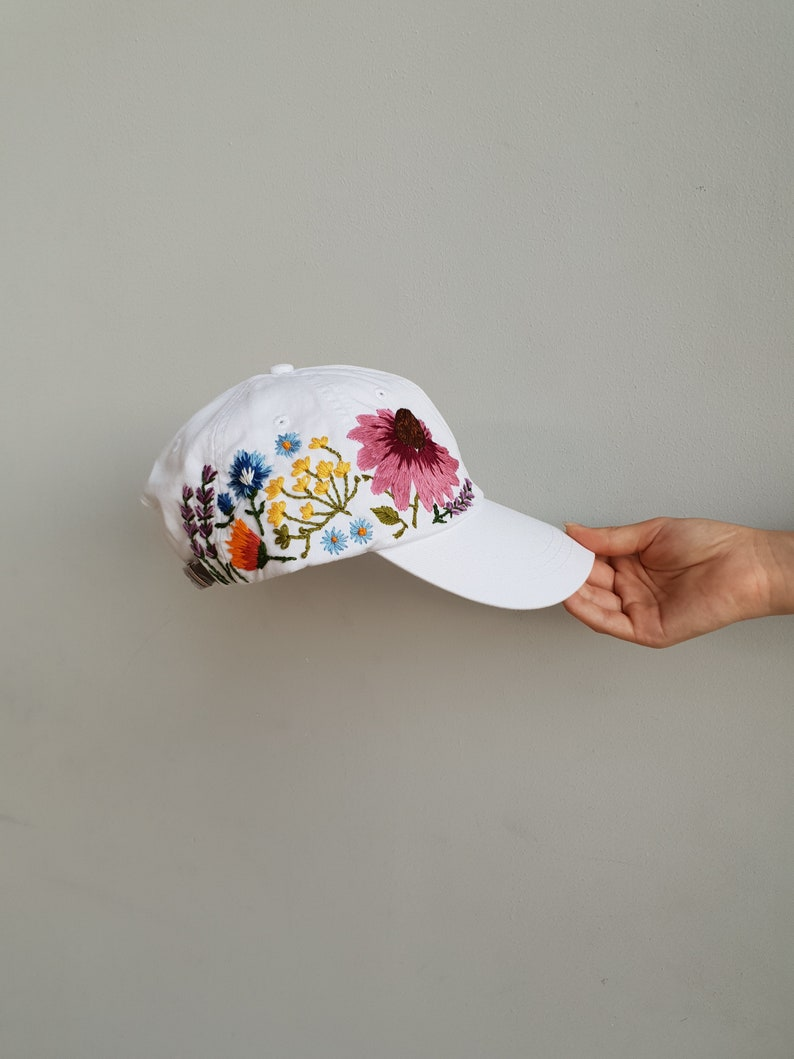 Hand Embroidered Hat   White Hat   Embroidered Flowers    b5a72993054
