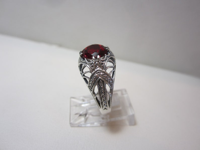 Art Nouveau Style Ruby Ring Size 8 Sterling Silver Jewelry