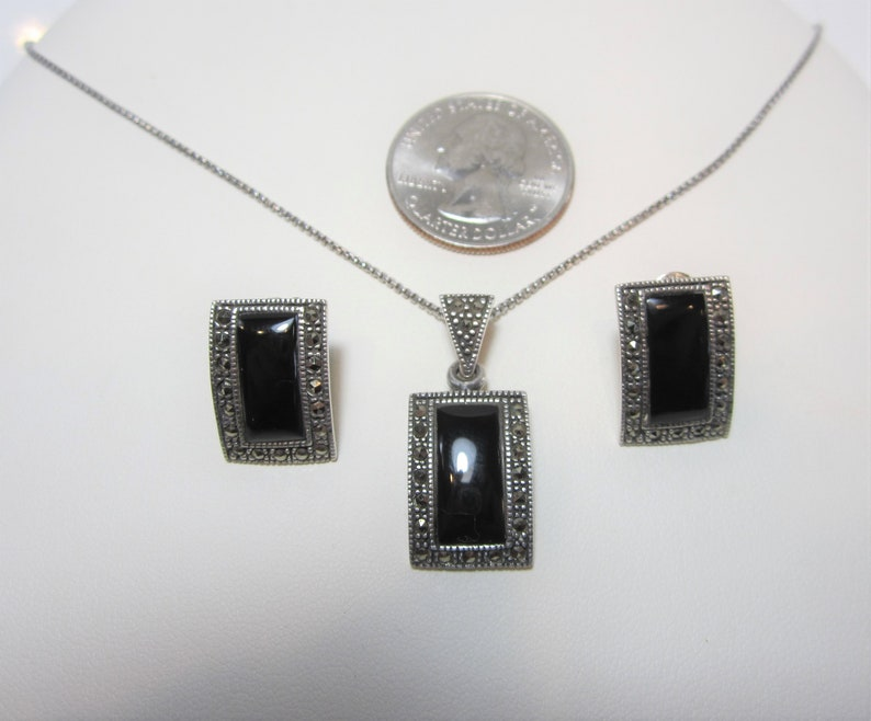 Onyx Jewelry Set Earring and Necklace Set Vintage Sterling Silver Jewelry Marcasite Jewelry