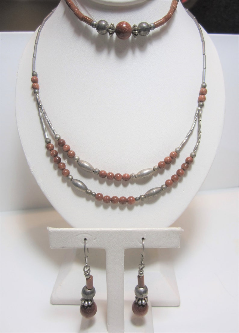 Vintage Sterling Silver Jewelry and Earrings Goldstone Jewelry Set Necklace Bracelet