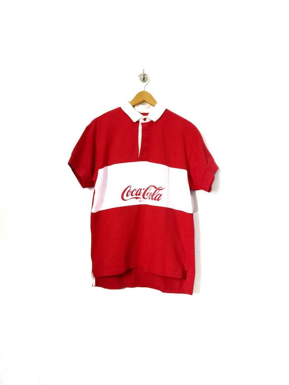 Vintage 90's Coca Cola Rugby shirt Red