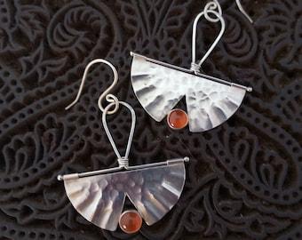 Fire Opal and Argentium Silver Handmade Fan Earrings