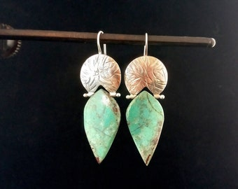 Chrysocolla and Argentium Silver Earrings Leaf Shaped