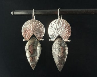 Argentium Silver and Leaf Shaped Marcasite Stone Earrings