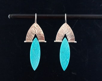 Turquoise and Sterling Silver Hand Patterned Earrings