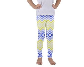 KIDS LEGGINGS-Funky blue and yellow herringbone design!