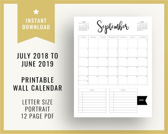 July 2018 June 2019 Printable Portrait Wall Calendar 2018 Etsy
