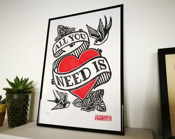 All You Need Is Love - The Beatles inspired - A3 Limited Edition Framed Lino Block Print