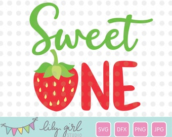 Sweet ONE Strawberry SVG, png, jpg and dxf, 1st Birthday, Cutting File for Cricut or Silhouette, Instant Download