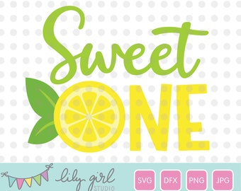 Sweet ONE Lemon SVG, png, jpg and dxf, 1st Birthday, Cutting File for Cricut or Silhouette, Instant Download
