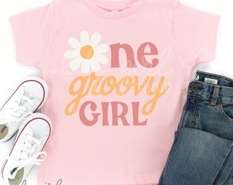 One Groovy Girl Daisy SVG, Girl's 1st Birthday SVG, Cutting File for Cricut or Silhouette, Instant Download
