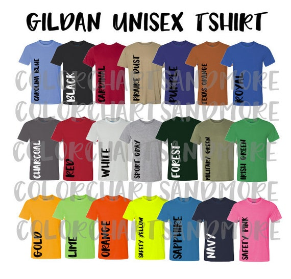 Gildan 42000 Performance Shirt Color Chart Shirt Color Chart Etsy