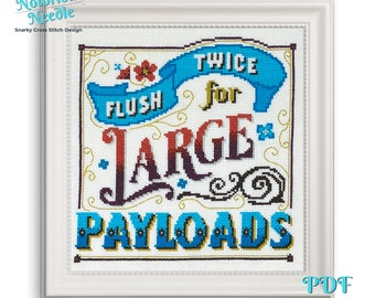 Flush Twice for Large Payloads Snarky Cross Stitch Pattern Quote in Blue and Red, Cross Stitch Lover Gift for Bathroom Decor, Instant PDF