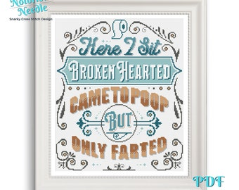 Broken Hearted Funny Cross Stitch Pattern Limerick in Blue and Brown, Cross Stitch Lover Gift for Bathroom Decor, PDF Digital Download