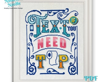 Text If You Need TP Snarky Cross Stitch Pattern Quote in Blue and Pink, Cross Stitch Lover Gift for Bathroom Decor, PDF Instant Download