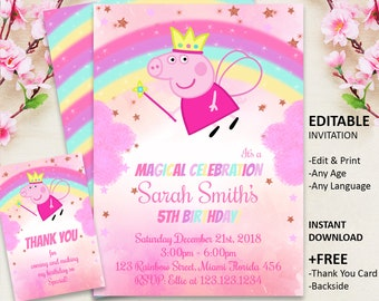 Peppa Pig Invitation Birthday Party Printable Girl InvitationFairy INSTANT DOWNLOAD