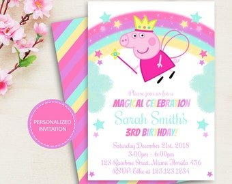 Peppa Pig Invitation Birthday Party Printable Girl PERSONALIZED