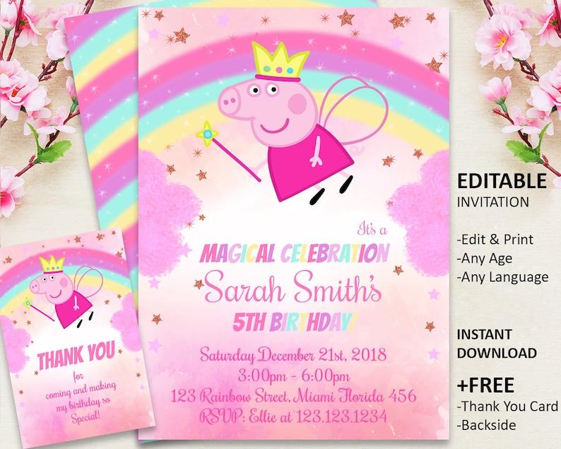 Peppa Pig Invitation Birthday