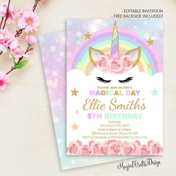 Rainbow Unicorn Birthday Invitation Pink Party Invite