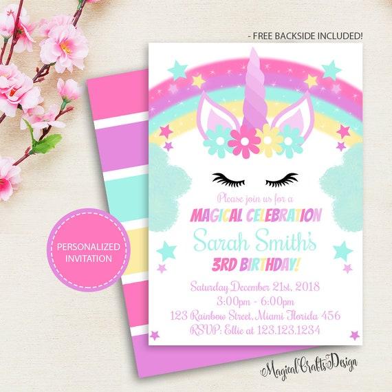 Rainbow Unicorn Invitation Personalized Birthday