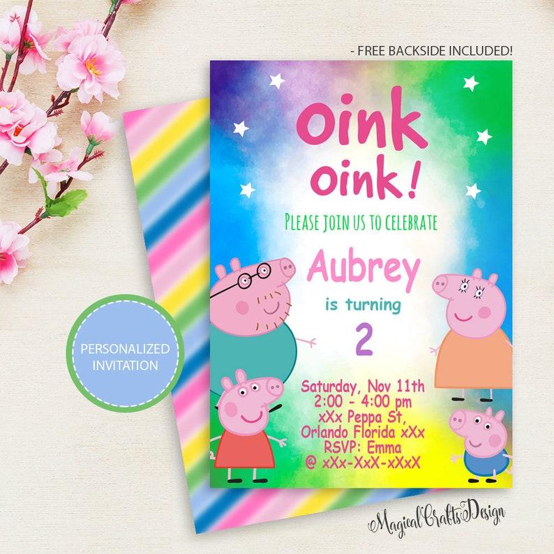 Peppa Pig Invitation Birthday Party Printable PERSONALIZED