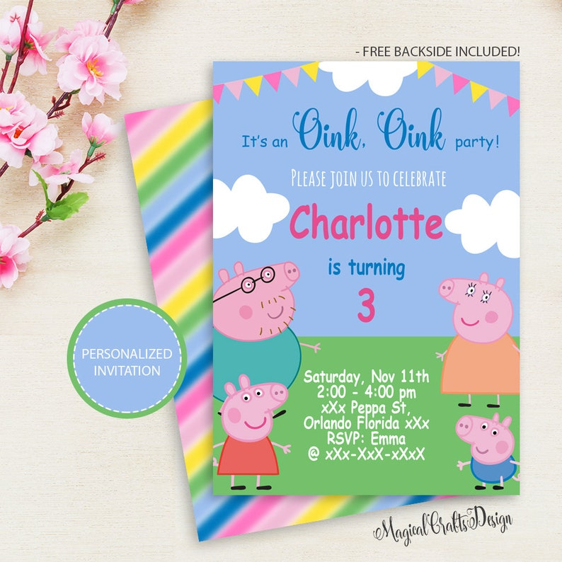 Peppa Pig Invitation Birthday Party Printable InvitationPERSONALIZED