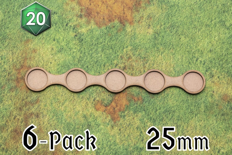 6 x Long Line 25mm Movement Trays for Wargaming image 0