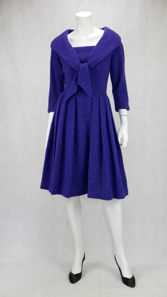 1960s Blue tweed dress