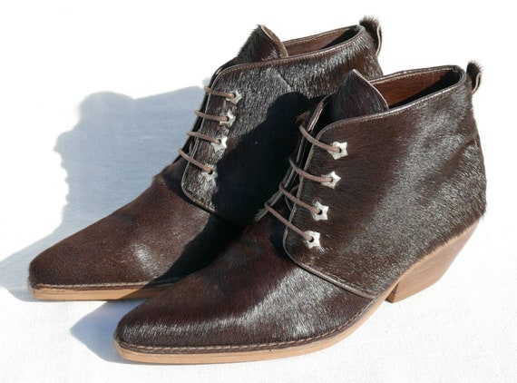 1990's Destroy Cow hair ankle boots - image 2