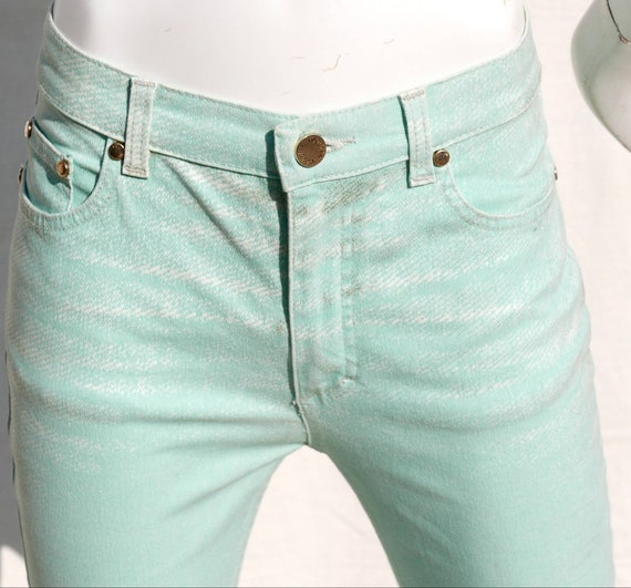 Roberto Cavalli mint green jeans with gold orname… - image 4