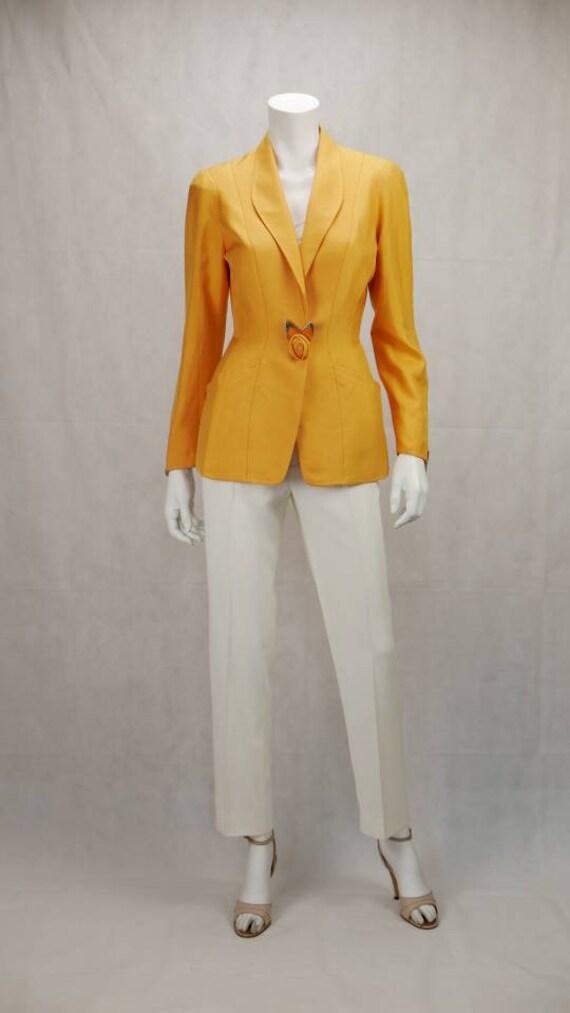Thierry Mugler yellow silk blazer