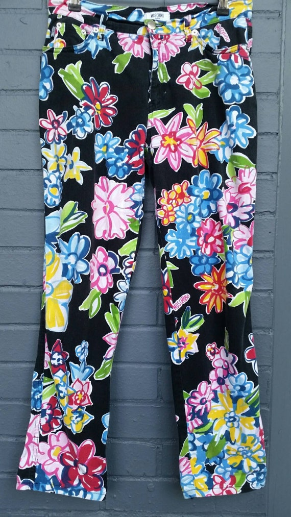 1990s Moschino Flower Power Jeans - image 2