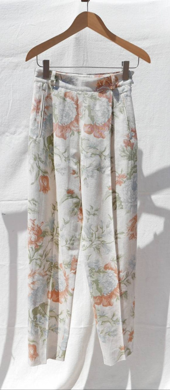 1980s Burberry floral trousers