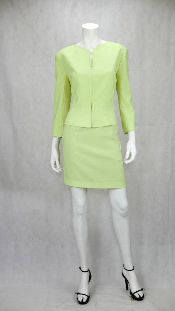 1990s Thierry Mugler light lime skirt suit