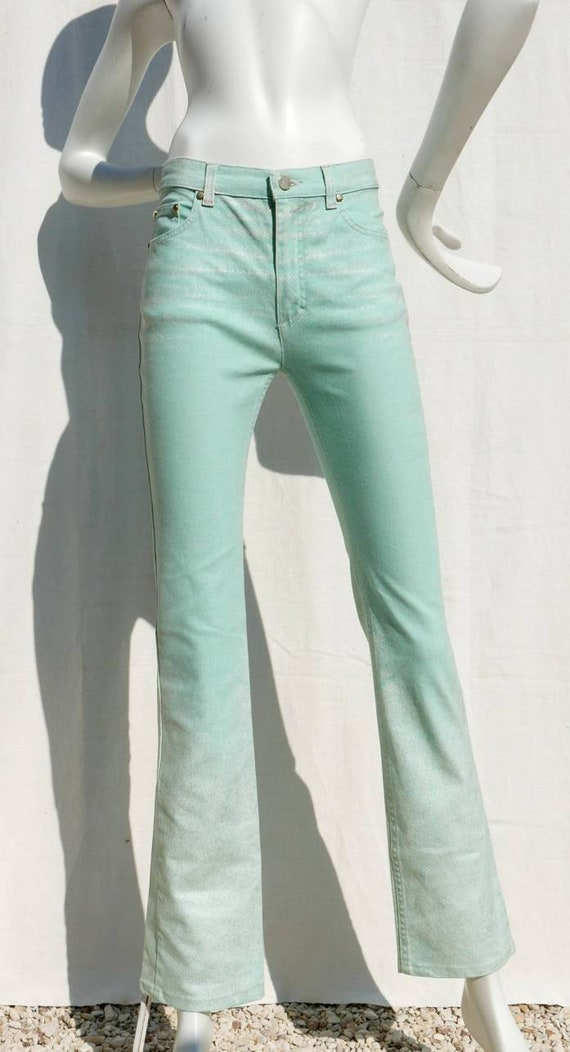 Roberto Cavalli mint green jeans with gold ornamen