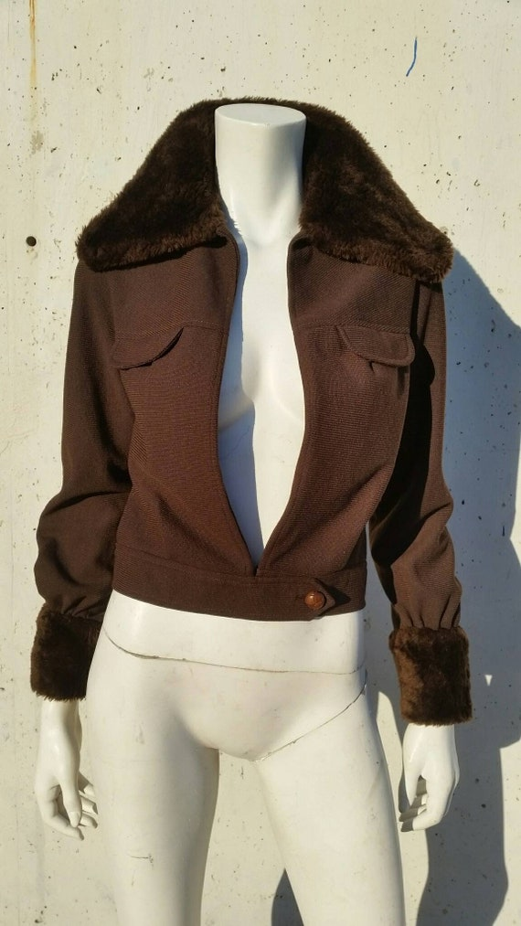 Sexy 1970s jacket with fake fur details