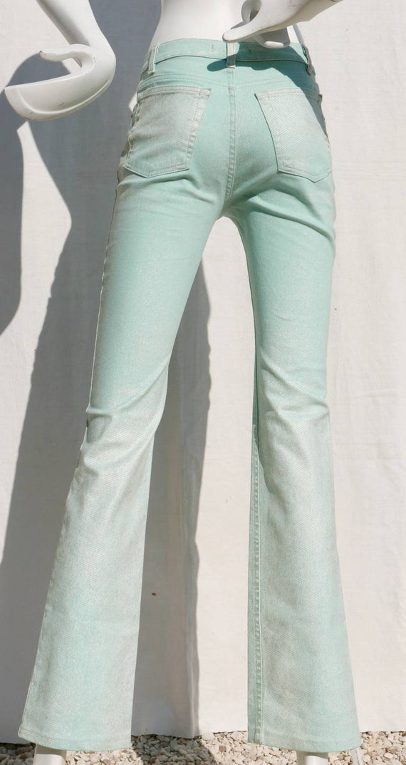 Roberto Cavalli mint green jeans with gold orname… - image 2